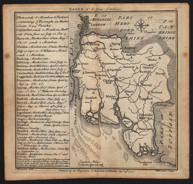 Associate Product Antique county map of Essex by Badeslade & Toms. East orientation 1742 old