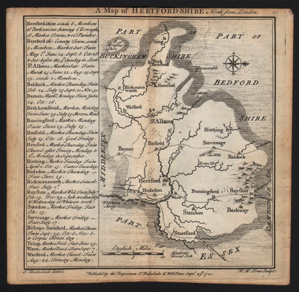 Associate Product Antique county map of Hertfordshire by Badeslade & Toms. West orientation 1742