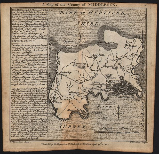 Associate Product Antique county map of Middlesex by Badeslade & Toms 1742 old chart