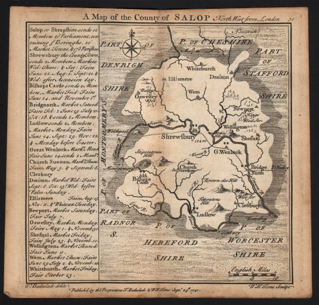 Associate Product Antique county map of the county of Salop by Badeslade & Toms. Shropshire 1742
