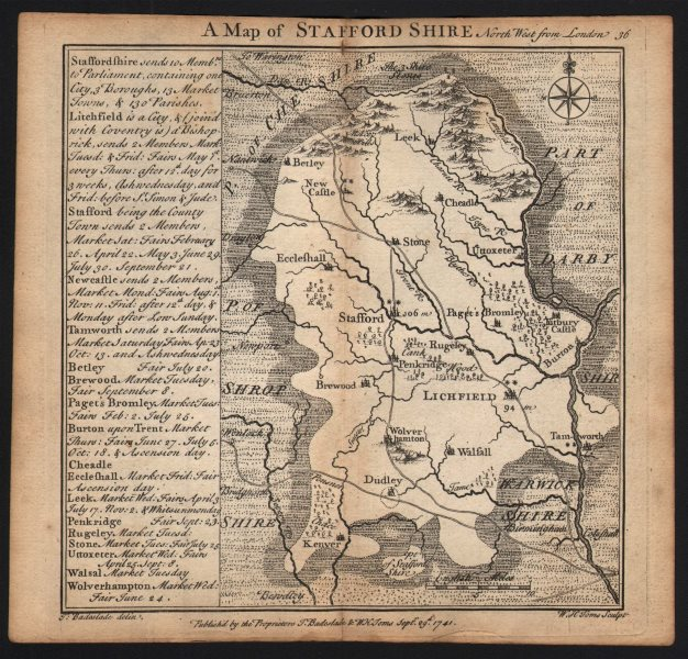 Associate Product Antique county map of Staffordshire by Badeslade & Toms 1742 old