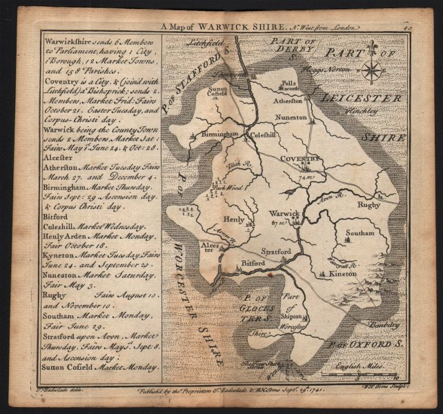 Associate Product Antique county map of Warwickshire by Badeslade & Toms 1742 old