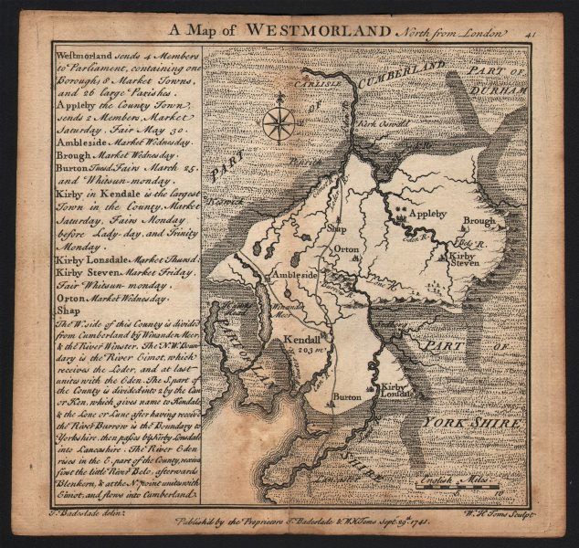 Associate Product Antique county map of Westmorland by Badeslade & Toms. Westmoreland Cumbria 1742