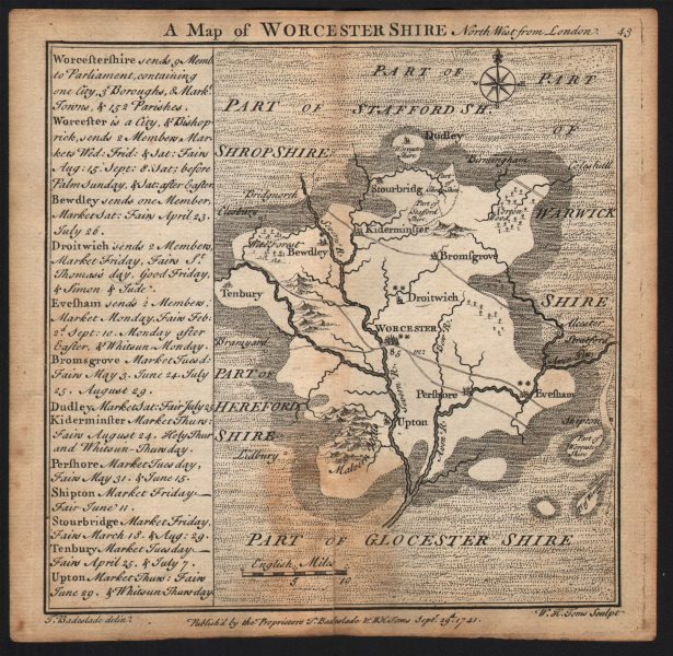 Antique county map of Worcestershire by Badeslade & Toms 1742 old