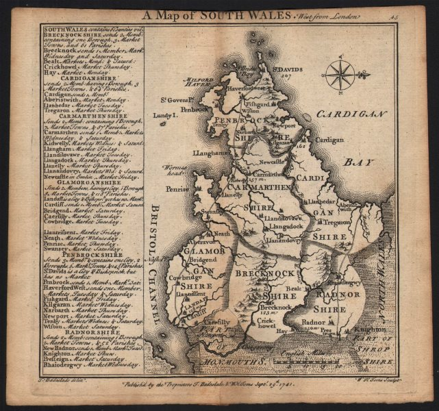 Associate Product Antique county map of South Wales by Badeslade & Toms. West orientation 1742