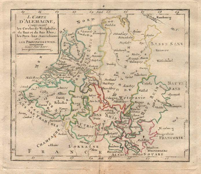 """Associate Product """"I. Carte d'Alemagne"""" by BRION DE LA TOUR. Benelux Westphalia Alsace 1777 map"""