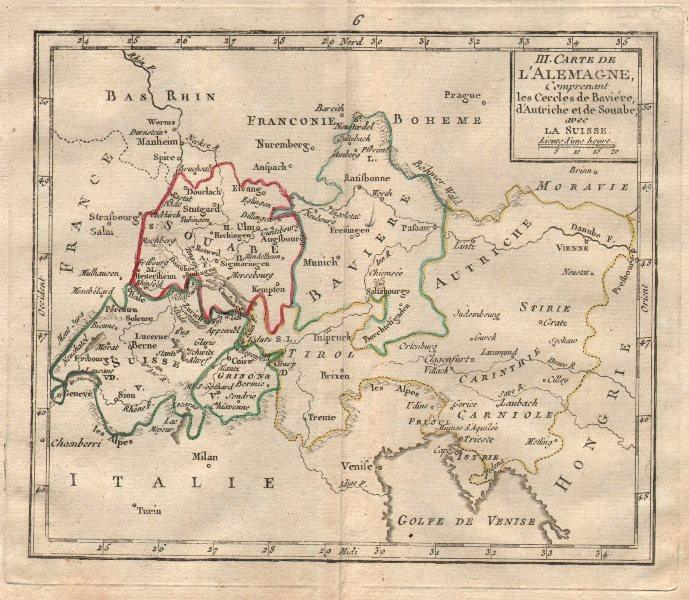 """Associate Product """"III. Carte d'Alemagne"""". BRION DE LA TOUR. Switzerland Austria Bavaria 1777 map"""