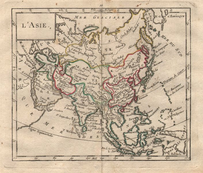 """Associate Product """"L'Asie"""" by BRION DE LA TOUR. Asia Persia Tartary China 1777 old antique map"""