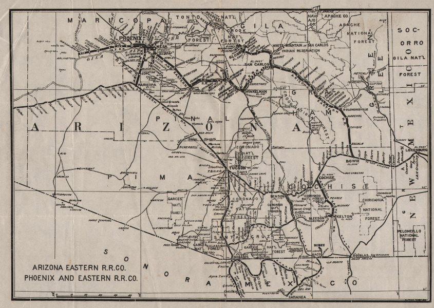 Map Of Arizona Railroads.Details About Arizona Eastern Railroad Company Phoenix And Eastern Railroad Co C1910 Map