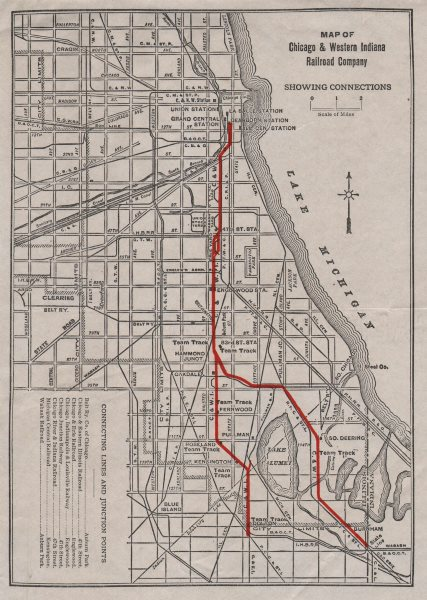Chicago Western Indiana Railroad Co map Connections Dearborn