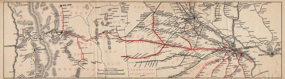 Associate Product Argentina Railways. Buenos Aires Pacific Ry. Transandine Valparaiso c1910 map
