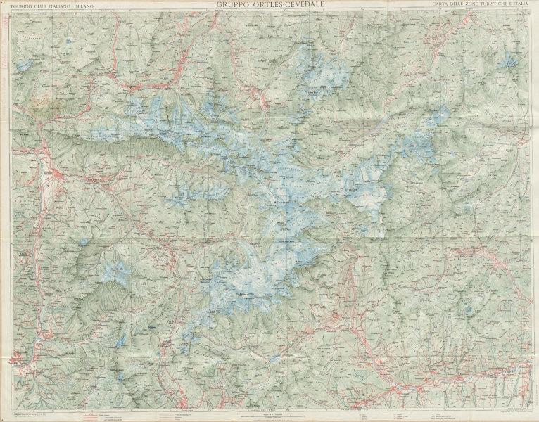 Associate Product Gruppo Ortles-Cevedale Ortler-Alpen Alps. Bormio TOURING CLUB ITALIANO c1965 map