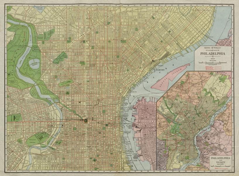 Associate Product Rand McNally Standard map of Philadelphia. City plan. Pennsylvania c1913