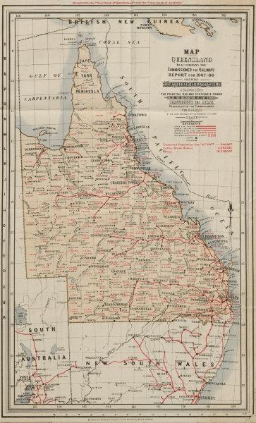 Associate Product Queensland rail network. Railways Commissioner's Report. Livestock 1908 map