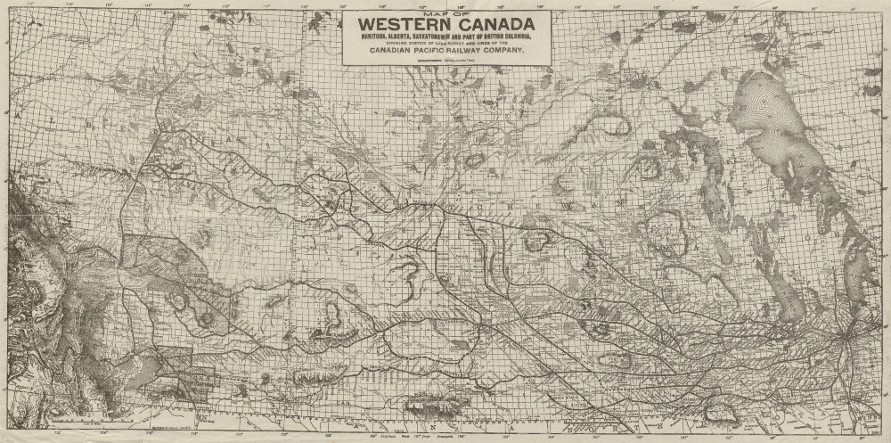 Associate Product WESTERN CANADA showing Canadian Pacific Railway Company lines 1913 old map