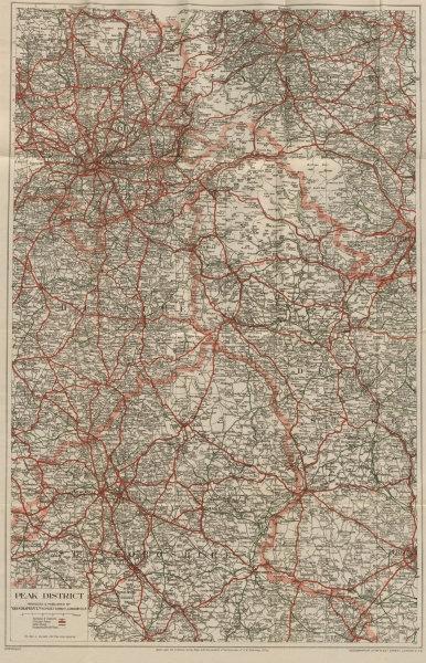 Peak District Derbyshire Dales road map Manchester Sheffield GEOGRAPHIA c1935