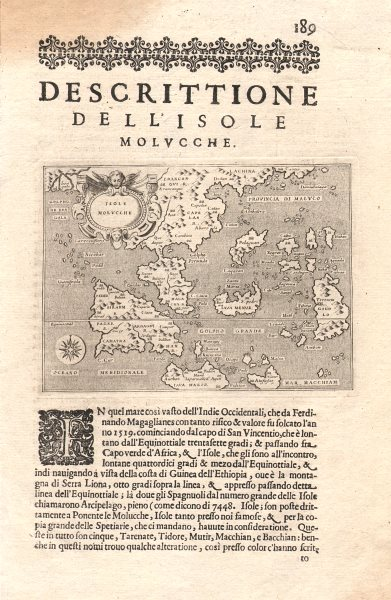 """Associate Product """"Descrittione dell' Isole Molucche"""". PORCACCHI. East Indies & Indochina 1620 map"""