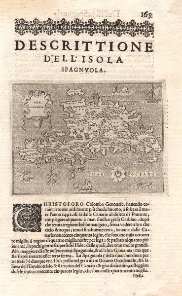 """Associate Product """"Descrittione dell' Isola Spagnuola"""". PORCACCHI. Hispaniola Caribbean 1620 map"""