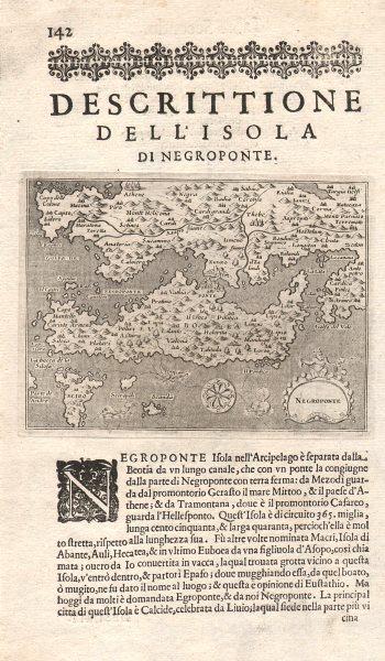 """Associate Product """"Descrittione dell' Isola di Negroponte"""". PORCACCHI Euboea Boeotia Evia 1620 map"""