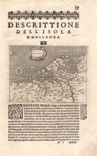 "Associate Product ""Descrittione dell' Isola d'Hollanda"". PORCACCHI. Holland Netherlands 1620 map"