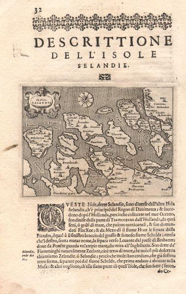 "Associate Product ""Descrittione dell' Isole Selandie"". PORCACCHI. Zeeland Netherlands 1620 map"