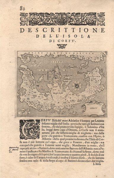 """Associate Product """"Descrittione dell' Isola di Corfu"""". PORCACCHI. Ionian Greece 1606 old map"""