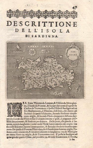 """Associate Product """"Descrittione dell' Isola di Sardigna"""". PORCACCHI. Sardinia Sardegna 1620 map"""