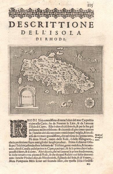 """Associate Product """"Descrittione dell' Isola di Rhodi"""". PORCACCHI. Rhodes Dodecanese 1620 old map"""