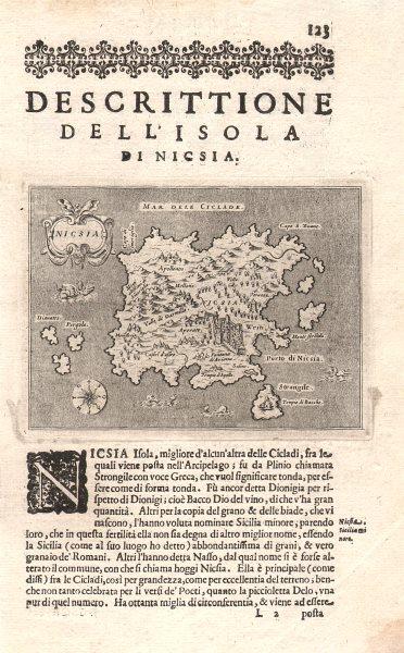 """Associate Product """"Descrittione dell' Isola di Nicsia"""". PORCACCHI. Naxos Cyclades Greece 1620 map"""