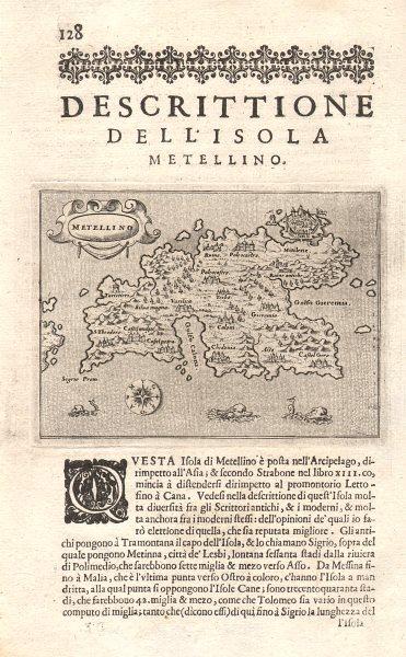 """Associate Product """"Descrittione dell' Isola Metellino"""". PORCACCHI. Lesbos North Aegean 1620 map"""