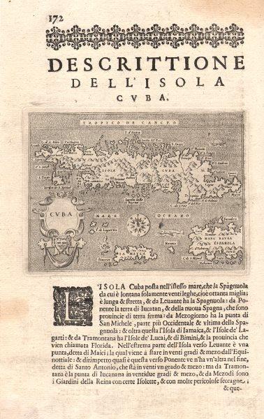 """Associate Product """"Descrittione dell' Isola di Cuba"""". PORCACCHI. Jamaica Hispaniola 1620 old map"""