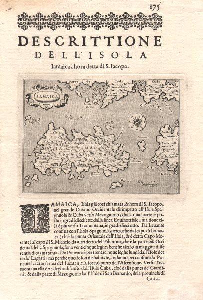 """""""Descrittione dell' Isola Iamaica…"""". PORCACCHI. Jamaica 1620 old antique map"""