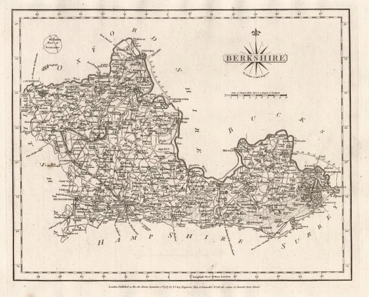 Associate Product Antique county map of BERKSHIRE by JOHN CARY 1787 old plan chart