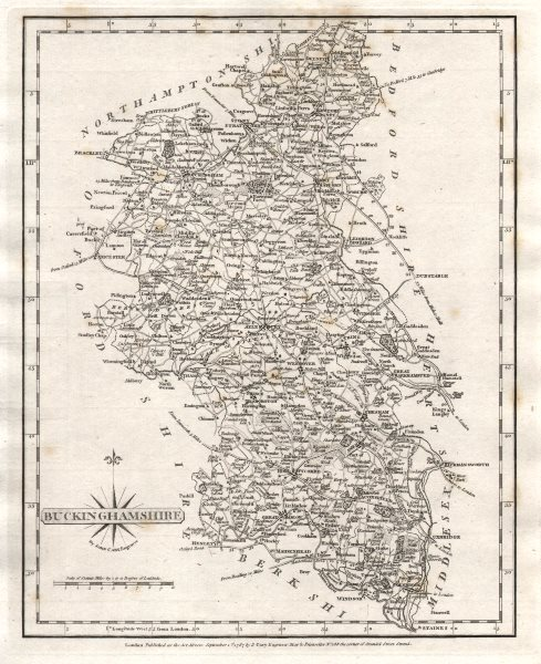 Antique County Map Of Buckinghamshire By John Cary 1787 Old Chart Reasonable Price Art Prints Maps, Atlases & Globes