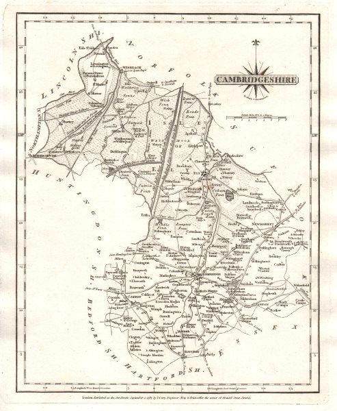 Associate Product Antique county map of CAMBRIDGESHIRE by JOHN CARY 1787 old chart