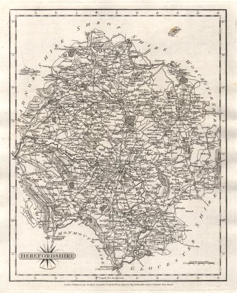 Associate Product Antique county map of HEREFORDSHIRE by JOHN CARY 1787 old chart