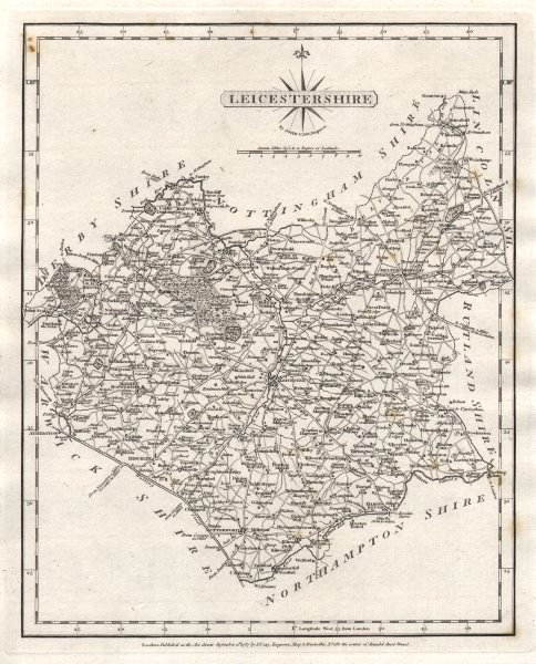 Associate Product Antique county map of LEICESTERSHIRE by JOHN CARY 1787 old chart
