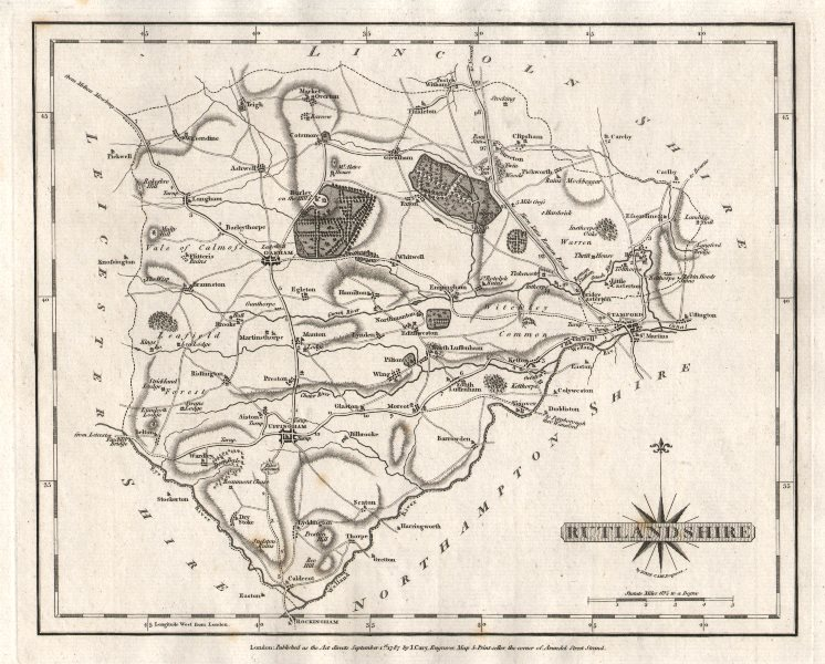 Associate Product Antique county map of RUTLANDSHIRE by JOHN CARY 1787 old chart
