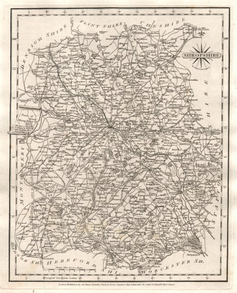 Associate Product Antique county map of SHROPSHIRE by JOHN CARY 1787 old plan chart