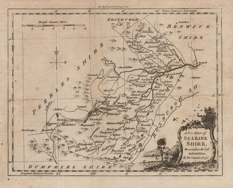 """Associate Product """"A New Map of Selkirkshire, drawn from the best Authorities"""". KITCHIN 1772"""