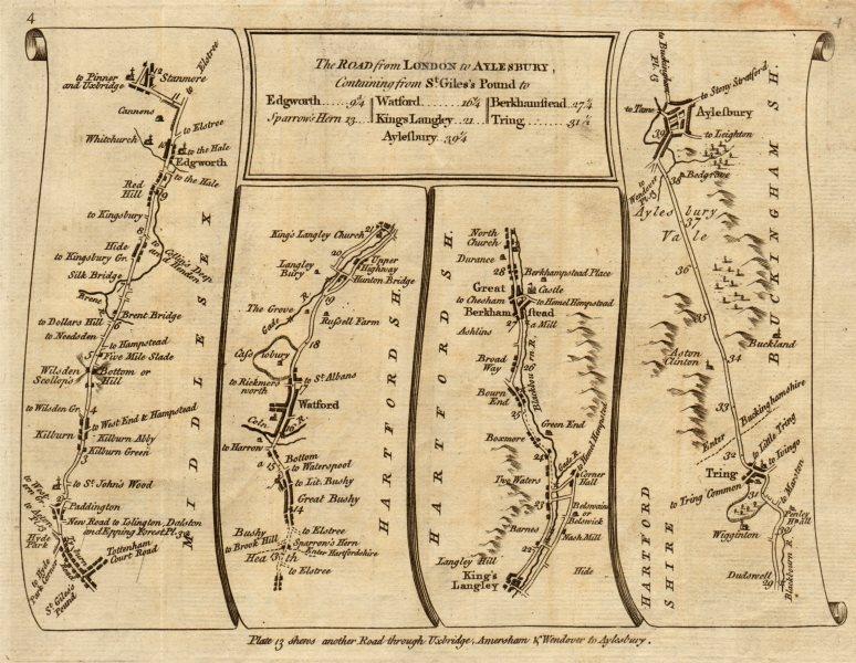 London Stanmore Watford Berkhamsted Tring Aylesbury. KITCHIN road map 1767