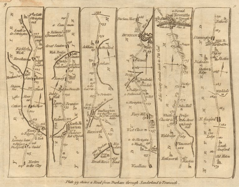 Associate Product Northallerton Darlington Durham Newcastle upon Tyne. KITCHIN road map 1767
