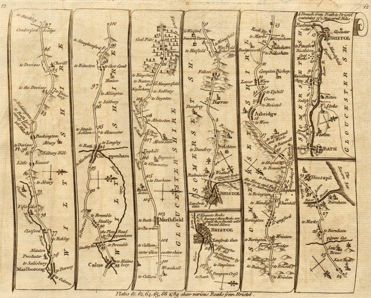 Associate Product Marlborough Calne Chippenham Bristol Axbridge Bath. KITCHIN road map 1767