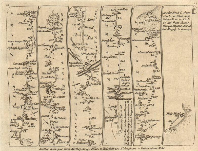 Associate Product Harwarden Northop Denbigh Conwy Beaumaris Holyhead. KITCHIN road map 1767