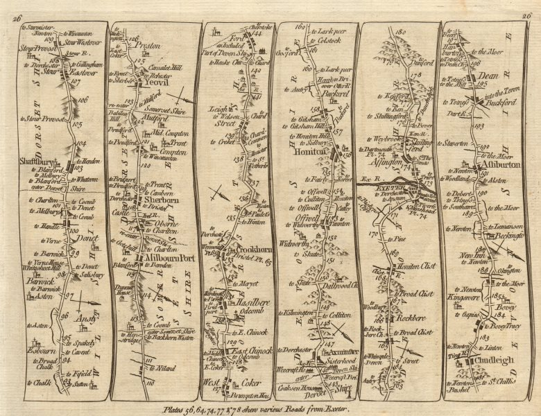 Associate Product Shaftesbury Yeovil Crewkerne Honiton Exeter Ashburton. KITCHIN road map 1767