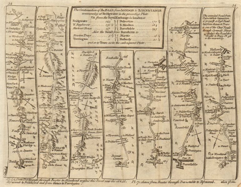 Associate Product Bridgwater South Molton Barnstable Great Torrington. KITCHIN road map 1767