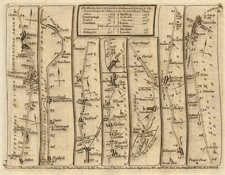 Yaxley Peterborough Spalding Boston Sleaford Lincoln. KITCHIN road map 1767