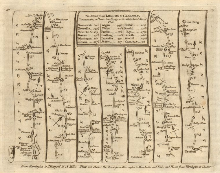 Associate Product Newcastle-under-Lyme Warrington Ashton/Lyne Wigan Preston. KITCHIN road map 1767