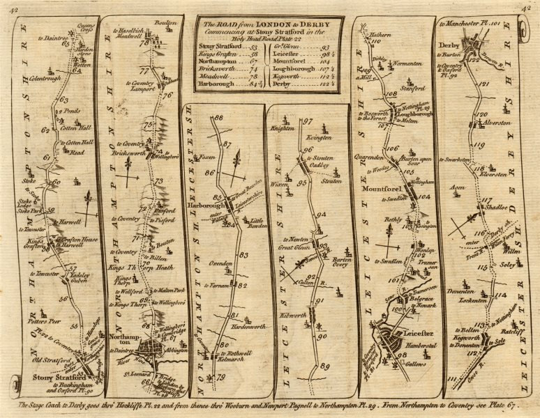 Associate Product Stony Stratford Northampton Leicester Loughborough Derby. KITCHIN road map 1767