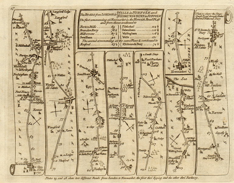 Associate Product Newmarket Mildenhall Swaffham Bury St Edmunds. KITCHIN road map 1767 old